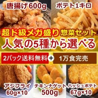 送料無料 選べる惣菜2種 肉 パーティー からあげ ナゲット フライドポテト 冷凍食品 お弁当