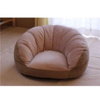 シングルソファー/座椅子 〔ベージュ〕 1人掛け コンパクトスタイル 中材:ウレタンフォーム、ポリエステルわた