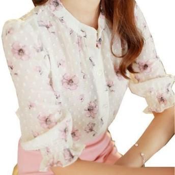 韓国ファッション 春 韓国 花柄プリント ブラウス シフォン キュート かわいい