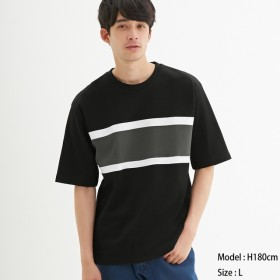 (GU)ポンチクルーネックT(5分袖)(カラーブロック) BLACK M