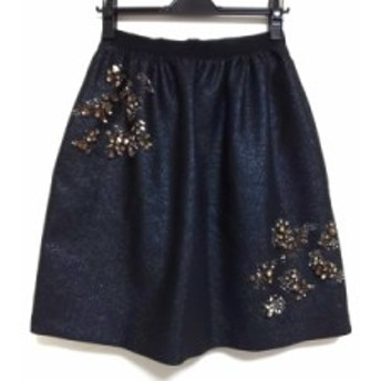 タラジャーモン TARA JARMON スカート サイズ36 S レディース 美品 黒×ブラウン ラメ/ビジュー【中古】20190705