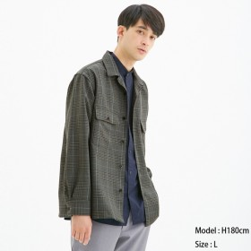 (GU)オープンカラーシャツ(長袖)(グレンチェック) GRAY XS