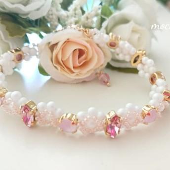 6色から選べるスワロフスキーのブレスレット(ピンク)