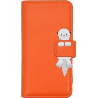 PLATA スマホケース iPhone6 iPhone6s iPhone7 iPhone8 手帳型ケース ■ らっこ × ビビッドオレンジ