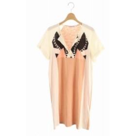 【中古】シーバイクロエ SEE BY CHLOE ワンピース Tシャツ ロング 半袖 40 白 ピンク /RM ▲H レディース