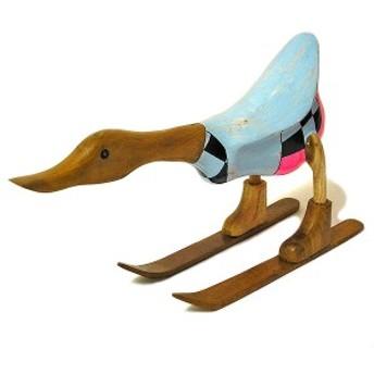 木彫りのアヒル スキー 青 アンティーク仕上げ [全長約34cm] インテリア人形