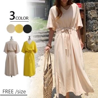 ◆時間限定◆2019春夏人気新品 韓国ファッション 春夏の 大きいサイズ 半袖 ロングワンピ コットンリネン 、ワンピース Vネック