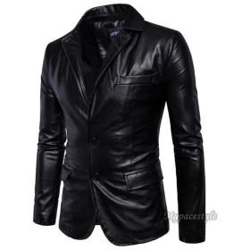 革ジャン メンズ レザージャケット テーラードジャケット 春 秋 冬 紳士服 ビジネス カジュアル 無地 2ボタン センターベンツ 通勤 大きいサイズあり-P870