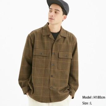 (GU)オープンカラーシャツ(長袖)(グレンチェック) DARK BROWN L