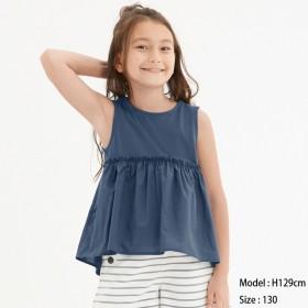 (GU)GIRLSフリルヘムT(ノースリーブ) BLUE 150