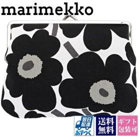マリメッコ ポーチ marimekko レディース がま口ポーチ ブラック 黒 ウニッコ 037773-030 北欧雑貨 花柄