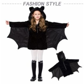 魔女 巫女コスプレ衣装 子ども 大人 女の子 コスチューム 仮装 男の子 ハロウィン 蝙蝠公演服変装 万聖節