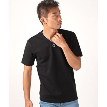 【15%OFF】 ラグスタイル タックフライスVネック半袖Tシャツ/Tシャツ メンズ 半袖 Vネック タックフライス メンズ ブラック M 【LUXSTYLE】 【タイムセール開催中】