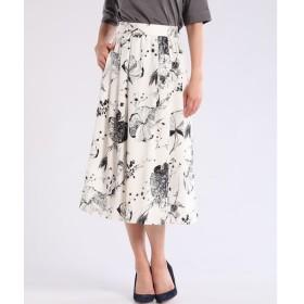 7-ID concept / フラワープリントフレアロングスカート