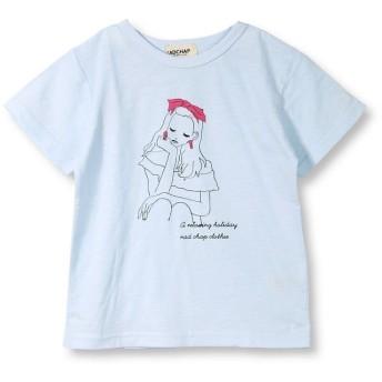 【25%OFF】 ブランシェス 女の子プリント半袖Tシャツ(90~140cm) レディース サックス 90cm 【branshes】 【セール開催中】