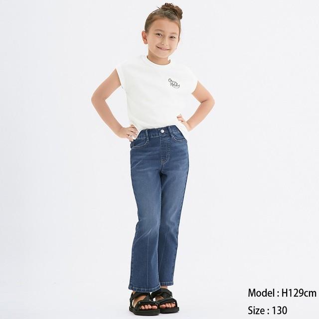 (GU)GIRLSストレッチセミフレアジーンズ(のびのびパンツ) BLUE 130