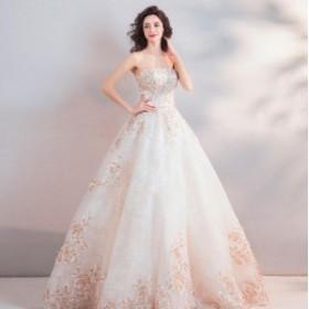 高品質 刺繍 編み上げ ビスチェウエディングドレス カラードレス ノースリーブ プリンセス 花嫁 結婚式 二次会 パーティーDRESS 着痩せ 2