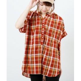 【74%OFF】 レイカズン チェックスタンドシャツ レディース 赤 FREE 【Ray Cassin】 【セール開催中】