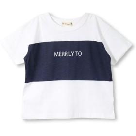 (branshes/ブランシェス)【プチプラ】切り替えプリント半袖Tシャツ(90-150cm)/レディース オフホワイト