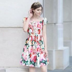 ワンピース 送料無料 花柄編上げパフスリーブ半袖付きAラインミニワンピース♪レッド 赤 ピンク お嬢様 大人 女優 レディース
