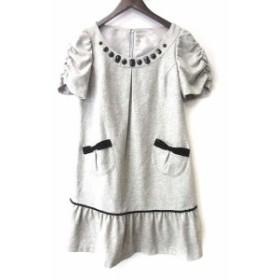 【中古】エルディープライム LD prime ワンピース M 38 灰 グレー ウール ミニ 半袖 刺繍 ラメ ビジュー 装飾