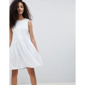 エイソス レディース ワンピース トップス ASOS Sleeveless Button Smock Dress White