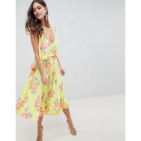 エイソス レディース ワンピース トップス ASOS DESIGN slinky floral cape midi dress Multi