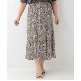eur3 【大きいサイズ】レオパード柄ミモレ丈スカート その他 スカート,ホワイト
