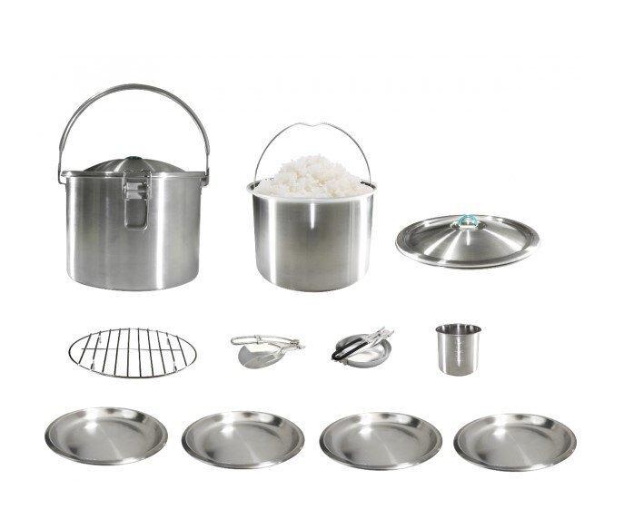 【【蘋果戶外】】文樑 ST-101 大蒸氣煮飯鍋 304不鏽鋼 台灣製 內鍋、飯匙、蒸網、湯匙、4個餐盤、量米杯