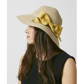 【オンワード】 Hat Homes(ハットホームズ) 【洗えるツバ広ハット】 ミルサ ウォッシャブルブレードリボンキャペリン 黄 59cm レディース