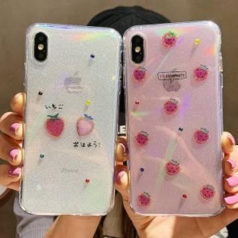 2019新作スマホケース iPhoneXs iPhoneX iPhone XR iPhoneXs MAXケース 全機種対応スマホケース可愛いイチゴ柄カップルiPhoneケースKJS