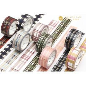 マスキングテープ チェック柄×金箔ライン 8種類 海外製 15㎜×5m