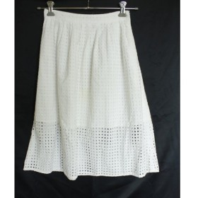 【中古】ザラ ベーシック ZARA BASIC パンチング 刺繍 ギャザースカート XS 白 ホワイト 綿レース コットン100% ミモレ丈 サイドファスナー 裏地あり 夏