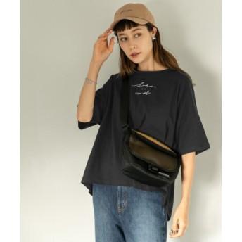 SENSE OF PLACE(センスオブプレイス) トップス Tシャツ・カットソー スクリプトロゴビッグTシャツ(5分袖)
