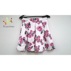 エミリアウィズ Emiria Wiz ミニスカート レディース 新品同様 白×ピンク×グリーン 花柄  値下げ 20190912