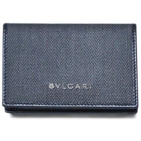 ブルガリ カードケース 32588 BVLGARI マチ付き 名刺入れ ウィークエンド SVロゴ コーティングキャンバス ブラックxブラック