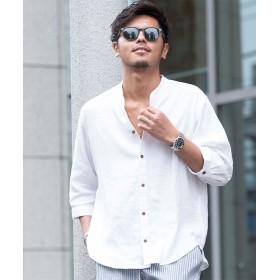 シルバーバレット CavariA麻混ストレッチ6分袖スキッパーシャツ メンズ ホワイト 44(M) 【SILVER BULLET】