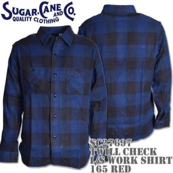 Sugar Cane シュガーケーン TWILL CHECK L/S WORK SHIRT SC27697-128 Navy