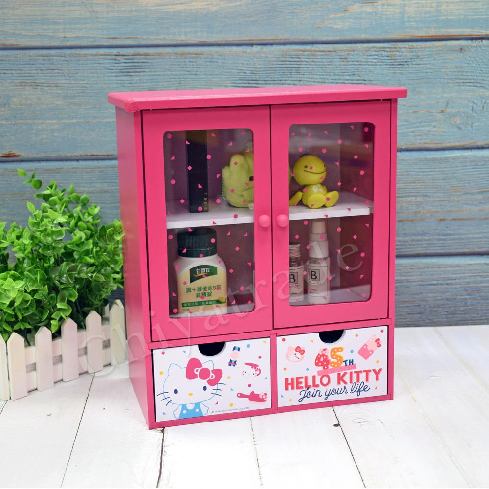 【Hello Kitty】凱蒂貓 繽紛玩美 透明磁吸雙拉門 抽屜櫃 收納櫃 置物櫃 桌上收納(正版授權台灣製)