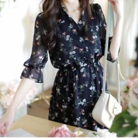 ワンピース シャツ 七分袖 半袖 花柄 シャツ ティアード フリル フェミニン レディース 春夏