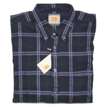 ボス・オレンジ シャツ BOSS ORANGE ボス メンズ 長袖 ボタンダウン グラデーション チェック ブラックxグリーン Mサイズ 72408 アウトレット