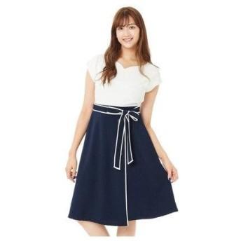 パターン フィオナ PATTERN fiona ドッキング配色ワンピース (コンーシロ)
