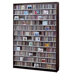 CDラック 大容量 おしゃれ 大型 DVDラック CD 収納 ディスプレイラック ダークブラウン 壁面収納 転倒防止 金具付き