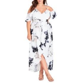 シティーシック レディース ワンピース トップス City Chic Floral Print Ruffle Maxi Dress (Plus Size) Cream Floral