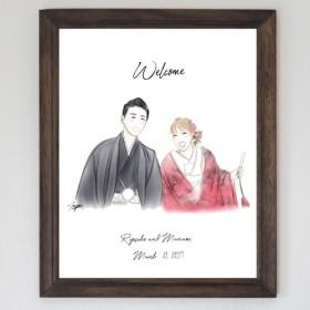 柔らかい雰囲気の似顔絵 ウェルカムボード 結婚式 オーダーメイド nigaoe004