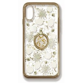 iPhoneXR 押し花ケース White petals_Gold ring set PF-I9-056R