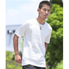 ラグスタイル エンボス加工ロゴ半袖Tシャツ/Tシャツ メンズ 半袖 エンボス メンズ ホワイト XL 【LUXSTYLE】