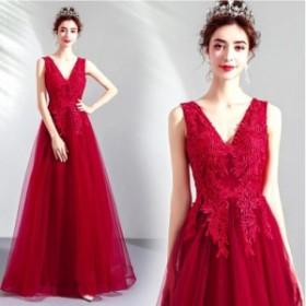 2019新作 パーティドレス ロングドレス ウェディングドレス お呼ばれ ピアノ 発表会 フォーマル 演奏会 結婚式 プリンセス 袖なし 20代30