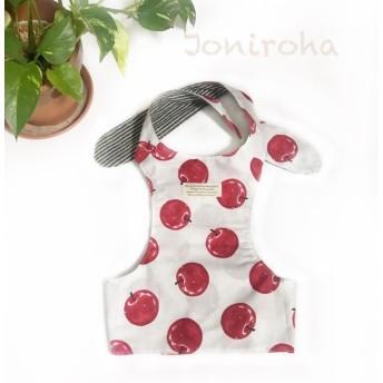 夏ひんやり お洒落なりんごのクールエプロン 犬服、犬服ハンドメイド、小型犬服、フレブル服、フレンチブルドッグ服、パグ服、暑さ対策、誕生日プレゼント