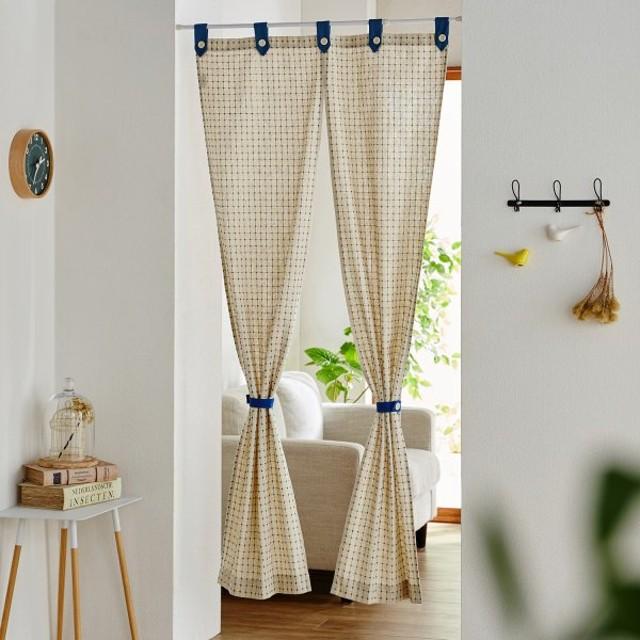 カーテン 安い おしゃれ のれん カフェカーテン 刺し子デザインの綿混生地のれん 「レッド」